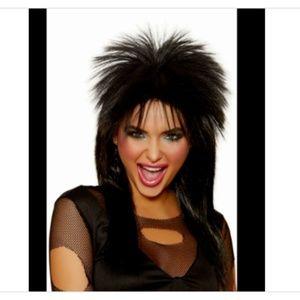 Wig Rock n Roll 1980's Black Rocker Hair Band Babe